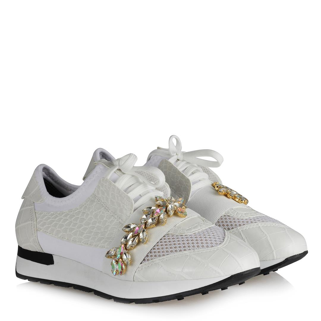 Women's Gemmed White Sport Shoes