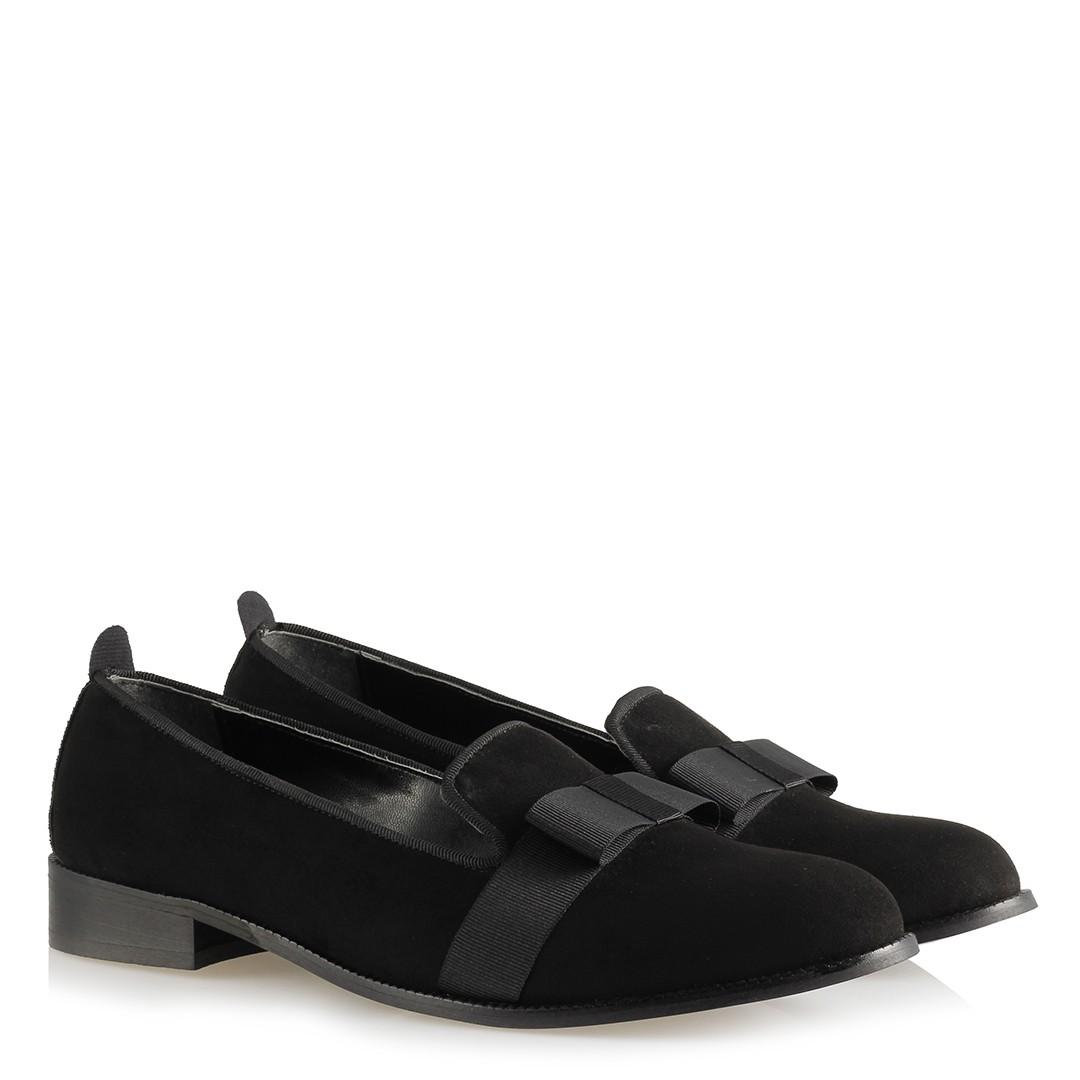 Women's Black Suede Flat Shoes