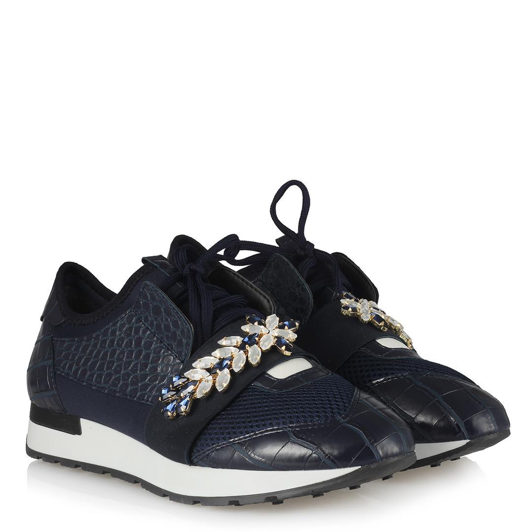 Women's Gemmed Navy Blue Sport Shoes
