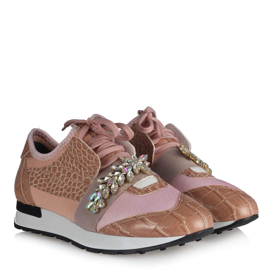 Women's Gemmed Powder Rose Sport Shoes