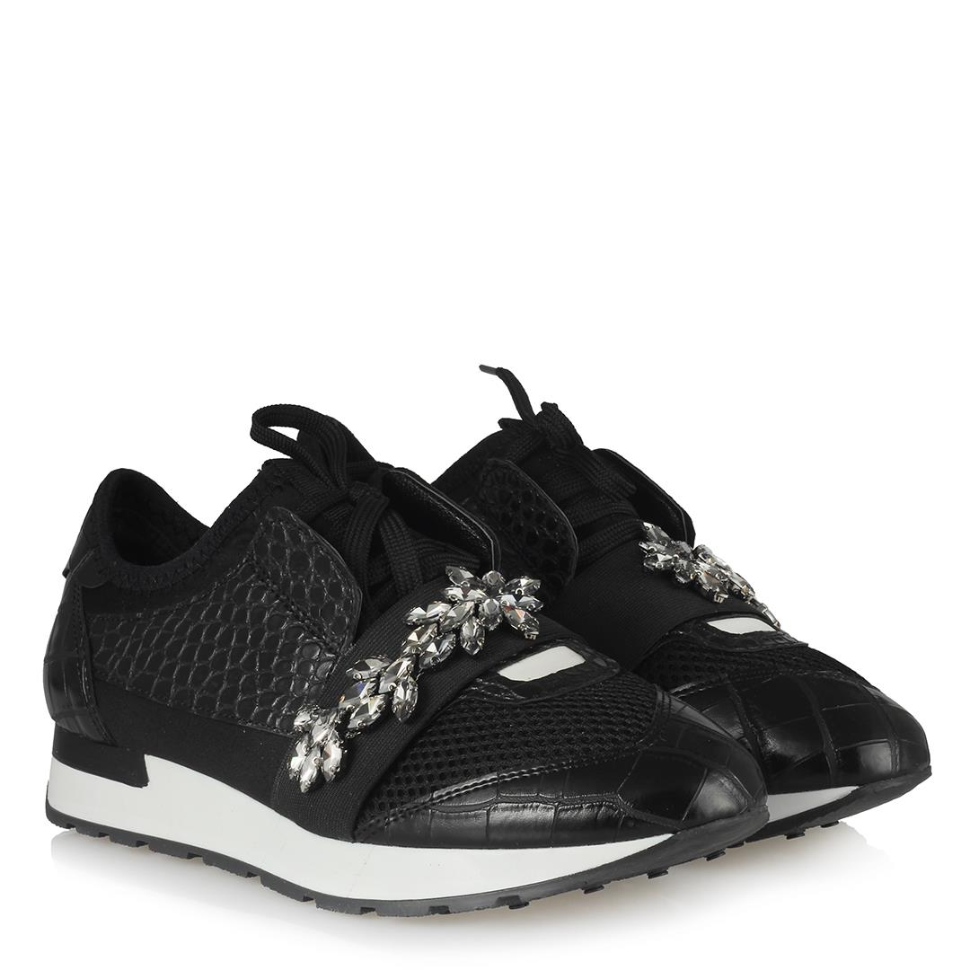 Women's Gemmed Black Sport Shoes